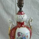 Antique Regency Classical Urn Marbleized Porcelain Lamp Decor Flowers Palatial