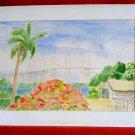 Vintage Watercolor Painting Napp 81 Old Florida Frame Tropical Island Landscape