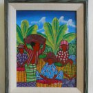 Vintage Original Oil Painting Salomon Ulrick Haitian Male Female Fruit Seller