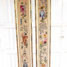 Vintage Pair Japanese Geisha Needlepoint Panels Modernist Gilded Frame Towering