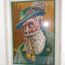 Needlepoint Vintage Antique Framed Costume Folklore Pipe Alpine Portrait Bavaria