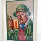 Needlepoint Vintage Antique Framed Beer Stein Portait Folklore Costume Bavaria