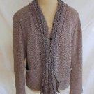 St John Sport Marie Gray Knit Tweed Jacket Blazer NOS Deadstock Trophy Fringe XL