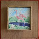 Southern Outsider Folk Art Tile Painting Dicker Flamingo Everglades Ornithology