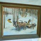 Vintage Western Snow Scene Logging Snow Painting Mid Century Waller Sled Horse
