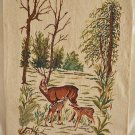 Needlepoint Deer Fawns in Forest Landscape Cabin Decor Handmade Botanical