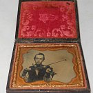 Ambrotype Musician Man Playing Violin While Smoking Pipe Bow 1/9 Plate Smoker