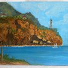 California Painting Original Coastal Wind Turbine Generator Lighthouse Western