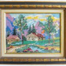 Vintage Needlepoint Rocky Mountains Western Plein Air Landscape Gilded Frame