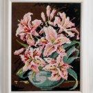 Vintage Needlepoint Pink Tropical Hibiscus Flowers Modernist Still Life Framed