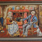 Vintage Needlepoint Colonial Early American Hearth Scene Whippet Dog Framed Home