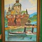 Russian Painting Vintage Original Oil MARISKA Side Wheeler River Onion Domes