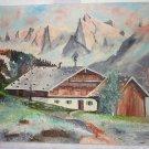 Vintage Naive 1966 Oil Painting Alps Landscape Snow Scudder Swiss Alpine Decor