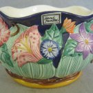 Fitz Floyd 1994 Handpainted Raised Flower Bowl 6.5in Cobalt Blue Pottery Vase
