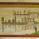 Folk Art Naive Oil Painting Fishermen Crabbing Pacific Northwest Oregon Marshy