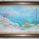Folk Naive Vintage Painting Snow Western Landscape Bighorn Sheep Mountain Fran