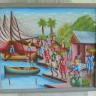 Haitian Painting Signed Vintage Fishing Port Village Market Boat Net Palm Tree