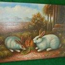 Rabbits Eating Leaf Pastoral Landscape Vintage Antique Alfyad Oil Painting