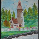 Maine Lighthouse Folk Art Naive Rocky Sea Coast  99 Original Painting B Hall