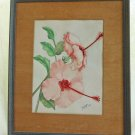 Antique Watercolor Original Art Deco Painting Pink Hibiscus Tropical FNW 1941