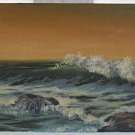 Surf Vintage Painting Breaking Waves Ocean SoCal California Seascape Wixon Small