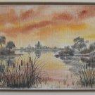 Vintage Original Painting Watercolor Neva Graham Marsh Cat Tail Impressionist