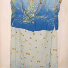 Oilily NOS Ombre Blue Print Set Maxi Skirt Cropped Knotted Vest Gilet Scenic 36