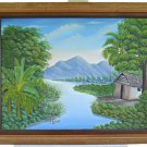 Haitian Painting  Gibella Dumas Impressionist Tropical Landscape Mountains Shack