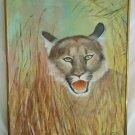 Vintage Florida Panther Original Oil Painting Close Landscape 1984 GMS Framed