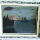 Vintage Oil Board Framed Painting Waller Miami River Florida Plein Air Landscape