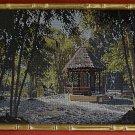 Vintage Needlepoint Landscape Forest Gazebo Regency Faux Bamboo Gold Frame