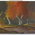 Vintage Antique Painting  Fiery Road of Doom Landscape Tortured Tree Eerie P.F.