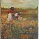 Vintage Moderne Painting Swamp Marsh Low Country Children Wind Landscape Spiegel