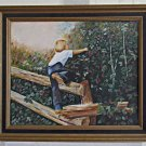 Vintage Painting Barefoot Boy Cherry Picking Orchard Washington Mae Staples
