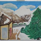 Outsider Folk Art Original Painting Rocky Mountain Snow Ski Colorado Ginger