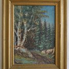 Canada Modernist Vintage Oil Painting Forest Plein Air Quebec 1965 N G Pliners
