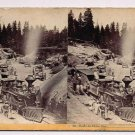 Stereoview CPRR Hart #60 Train Dixie Cut Locomotive Close View RR Workers Loco