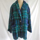 Tartan Plaid Muirfield Coat Jacket Fuzzy Boucle NOS Vintage Scotland P Wool