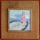 Southern Outsider Folk Art Tile Painting J Dicker Pink Lighthouse Florida Boat