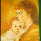 Modernist Painting Original Oil Golden Sunlight Maternal Love Portait Brooks
