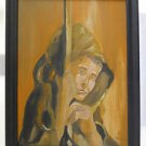 Vintage Painting Mystical Mysterious  Hooded Portrait Wood Staff Framed Jackson