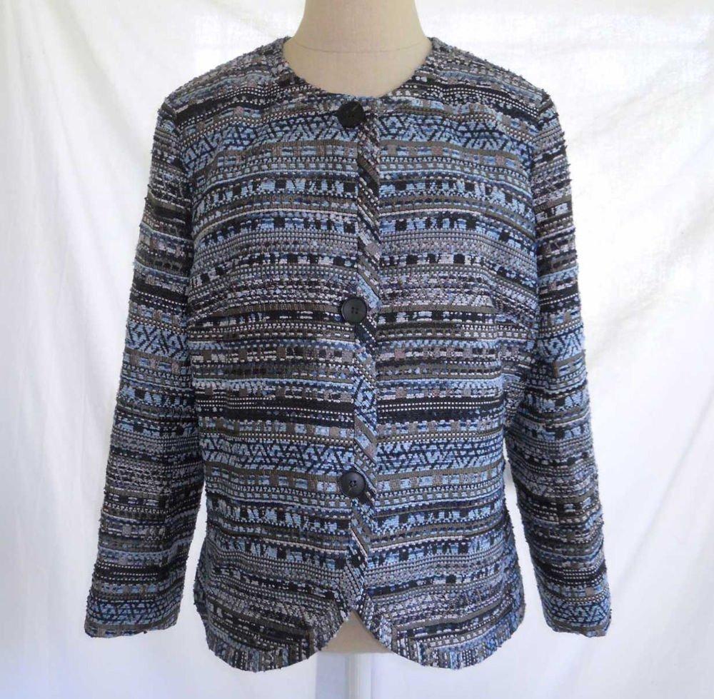 Lafayette 148 Jacket Blazer Deadstock NOS Trophy Tweed Boucle Blues  Metallic M