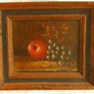 Antique Oil Painting Still Life Fruit Apple Grape Table Top Moody Framed MARCUSO