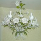 Chandelier Antique Roses Flowers Porcelain Italian Tole Hollywood Regency White