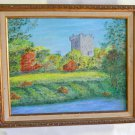 Original Vintage Painting Blarney Castle Ireland Landscape Irish Folklore Reis