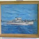 Vintage Oil Painting Head Boat Sea Chief Klein Ferris Wheel City Skyline Decor