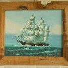 Marine Square Rigger Ship Schooner Painting Vintage Original Oil Leonard Ocean