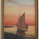 Art Deco Antique Painting 1933 L Tarr Marine Sail Boats Sunset Romantic Framed