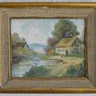 Antique Original Painting Ibaldi Continental Dreamy Landscape Thatch Roof Farm
