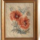 Antique Needlework Flowers Pink Cabbage Roses Botanical Gilded Frame Romantic